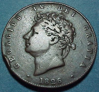 Great Britain UK - 1826 - 1/2 Half Penny - Nice Old Copper Coin - George IV