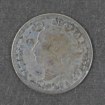 1858 Canada Five 5 Cents Silver Coin