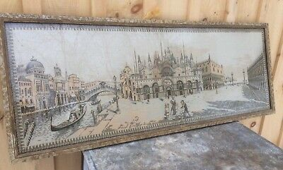 Vintage Handmade Wall Hanging Tapestry Venezia, In Frame , Approximately 55 X 21