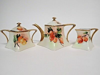 Vintage A. Lanternier & Cie Limoges France Gold Trim Porcelain China Tea Set