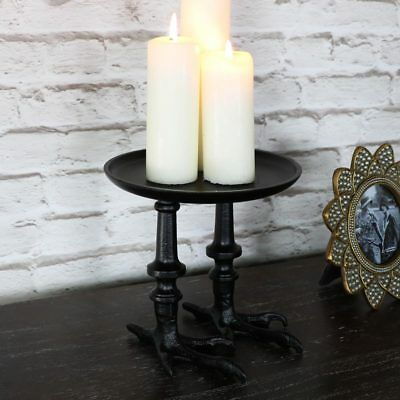 Black metal birds feet pillar candle quirky fun novelty display stand tray gift
