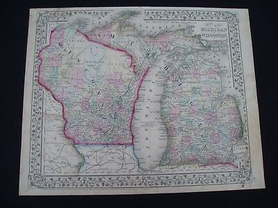 1867 Mitchell Atlas Map Wisconsin + Michigan 150 Yr Old Genuine Antique