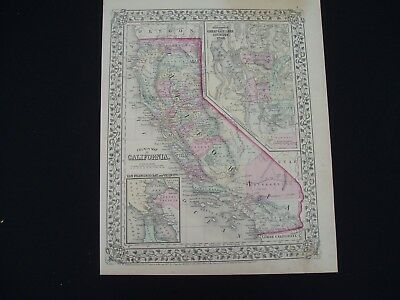 1867 Mitchell Atlas Map California Utah Rare 150 Yr Old Genuine Antique