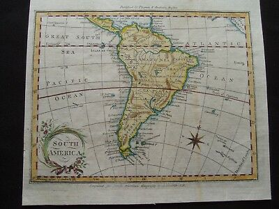 1796 Morse Map South America 221 Yr Old Antique Genuine