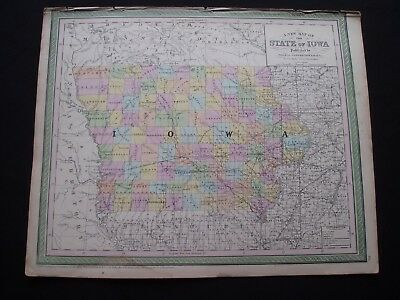 1850 Cowperthwait Mitchell Map Iowa 167 Yr Old Antique Genuine