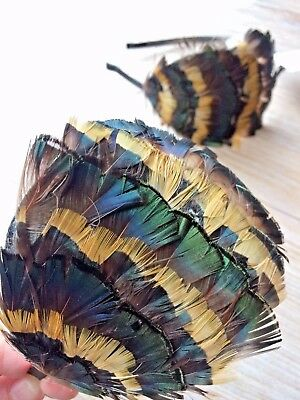 Green&Brown&Mustard Feather Headband Fascinator Handmade, Bridesmaids Headpiece