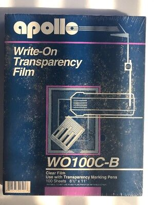 Apollo Write on Transparency Film 100 sheets W0100C-B Clear NEW 8 1/2 X 11 - K