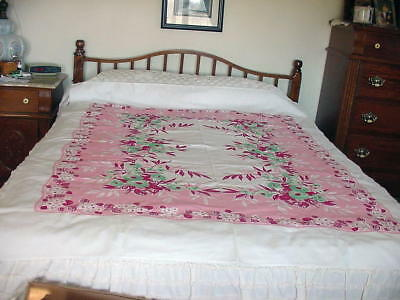 Vintage Cotton Tablecloth - White With Pink/red And Green.  - 58 X 74