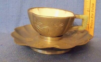 Vintage Chinese Qing Period Jade Handle And Pewter Cup And Saucer Enamel Lined