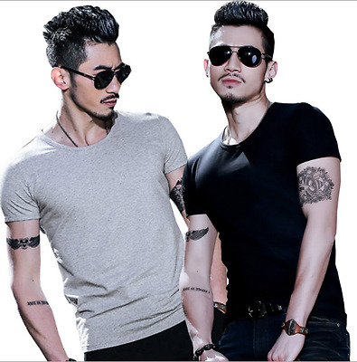 Mens O-Neck Slim Fit Cotton Short Sleeve Solid Color Blouse Casual T-Shirt Top