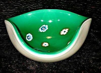 Eames Era Mid Century Murano Millefiore Biomorphic Cased Glass Bowl, Ashtray