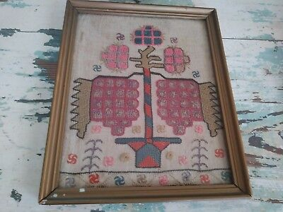 Antique Needlepoint Embroidery Sampler like abstract painting great