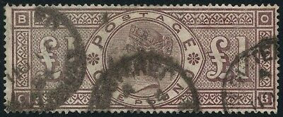 SG 185 £1 Brown Lilac Watermark Crowns Used (Ref: A647)