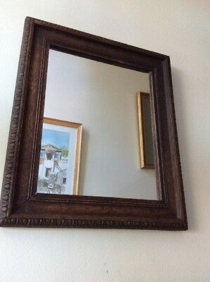 Antique Victorian Mirror with Carved Oak Frame 28 X 34cms