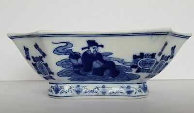 Vintage Chinese Blue And White Scholars Bat Floral Dish