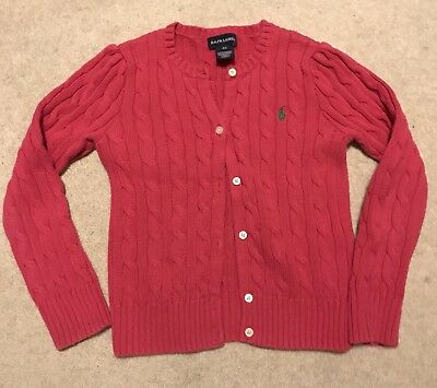 Ralph Lauren Polo Girls Pink Botton Up Sweater Size 6x Professionally Cleaned
