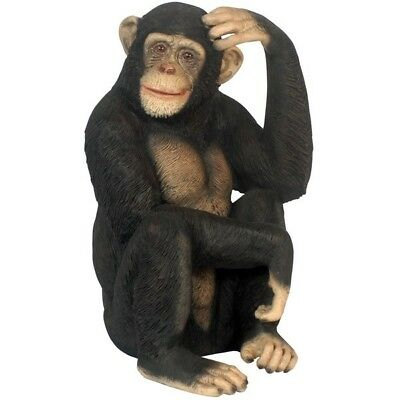 Chimpanzee Monkey Sitting  Statue Theme Decor Prop Jungle Animal