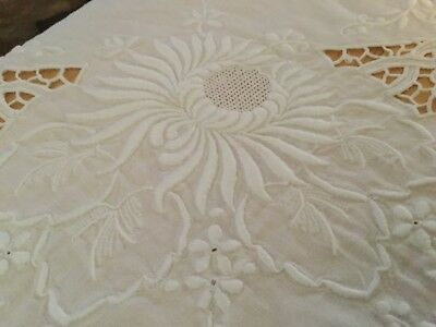 "GORGEOUS LINEN TABLECLOTH & SPECTACULAR EMBROIDERY & CUTWORK 83"" x 67"""