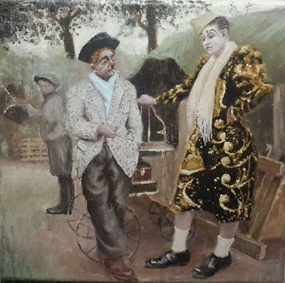 Original Oil Painting on Canvas - Clown Circus People Child Art Vintage Gift