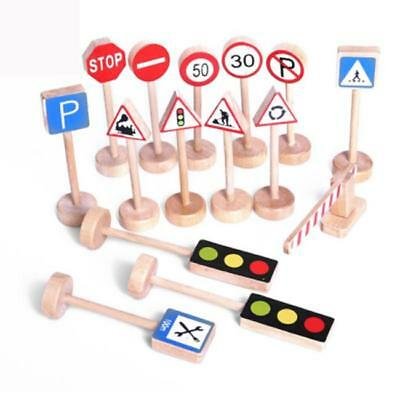 Toy Road Signs Traffic Small World Play Wooden Train Sign Compatible N7