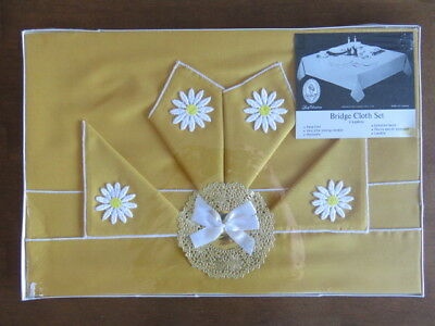 Vintage Bridge Card Tablecloth With 4 Napkins - Harvest Gold - Still In Package