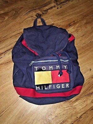 c0fdece78b Vtg Tommy Hilfiger 90 s Big Flag Logo Spell Out Blue Red Backpack  Drawstring Bag