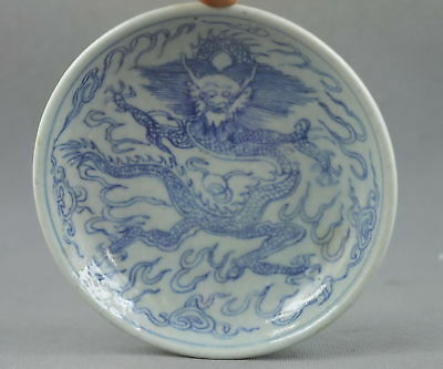 Collectable Handwork Decor Old Porcelain Paint Travel Dragon Exorcism Plates