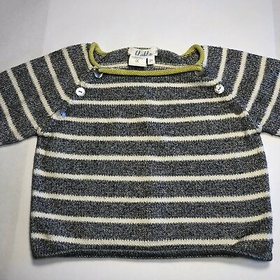 Blabla Size 2 Peruvian Cotton Sweater with Buttons Navy, White & Lime Green