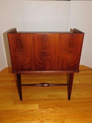 Rare Vtg Pair Danish Mid Century Modern Two Tiered End Side Nightstand Tables