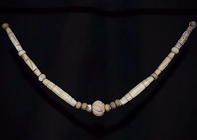 Complete Ancient Viking BÖNE Necklace. Norse Amulet of Carved Beads, 950-1000 Ad
