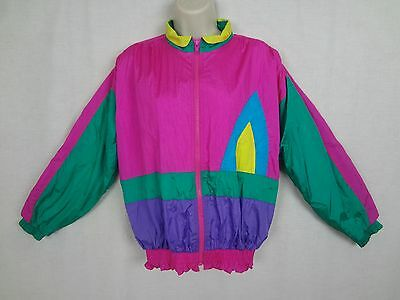 Vintage 1980's Track Jacket ~Hot Pink Green Purple Geometric Design by Badge~ S