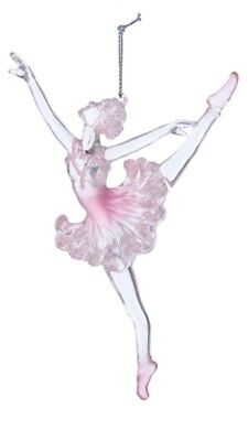 Kurt Adler Acrylic Pink Pearl Ballerina On Pointe Ballet Dancer Xmas Ornament B