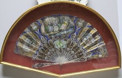 Antique French 19Th Figurative Scene Hand Painted Fan Mother Of Pearl