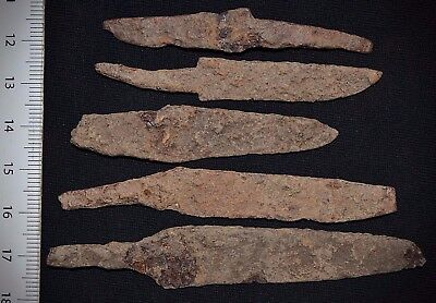 Lot of 5 Ancient Viking Iron KNlFES. Norse Rusty BIades, c 950-1000 Ad Uncleaned