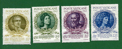 Vatican City 4 stamps, Sc 87 - 90, 400th Anniv of Pontifical Academy, 1944, MPH