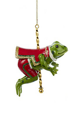 Kurt S. Adler Resin Frog Carousel/dobby Horse Christmas Tree Ornament C8830