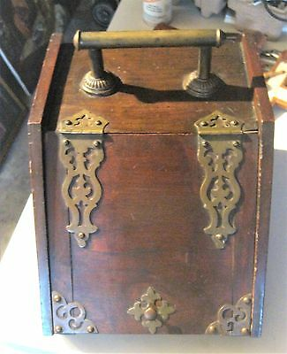 Antique Hot Ash Colector Brass Hinges Handle On Top And Back Good Condition
