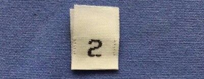 TWO 50 pcs WOVEN WHITE CLOTHING SIZE LABELS SIZE 2