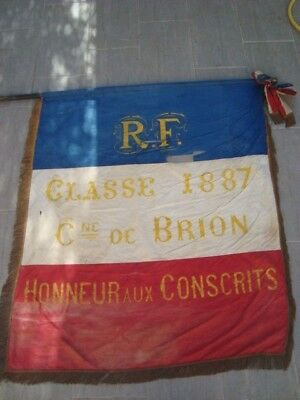 Drapeau HONNEUR AUX CONSCRITS CLASSE 1887 BRION INDRE 36 conscription