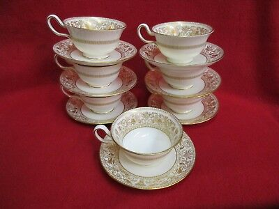 7 Wedgwood Gold Florentine Cups & Saucers
