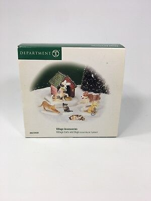Department 56 Village Accessories Village Cats and Dogs set of 6, New