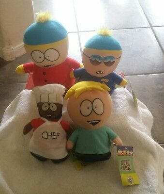 South Park Butters, Chef, Cartman Cop Plush! Soft Doll Stuffed Toy Lot 4 New