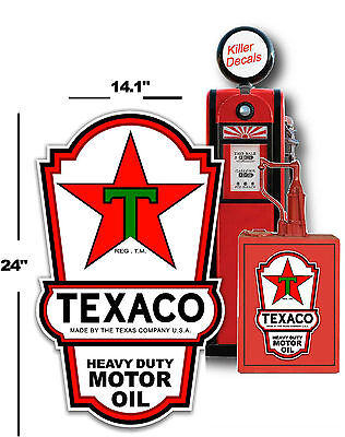 "24"" X 14.1"" Texaco Lubster Side Decal Gas And Oil Pump, Sign Sticker Lubester"