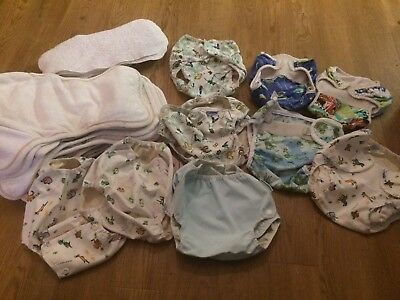 Bundle Of Washable Nappies Bamboo With Covers Reuseable Mother Ease
