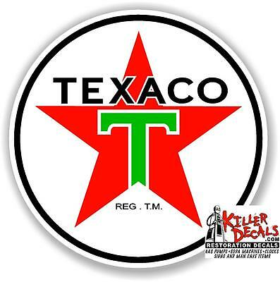 "12"" Texaco Post War Gasoline Decal Gas And Oil Pump, Sign Wall Art Sticker 2"