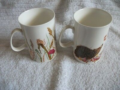 "Pair Of Beautiful Dunoon ""rustic Rascals"" Mugs Harvest Mouse And Hedgehog New"