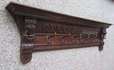 Antique Coat Rack Authentic & Genuine Hand Carved Oak Early 1900's – 6 Hooks