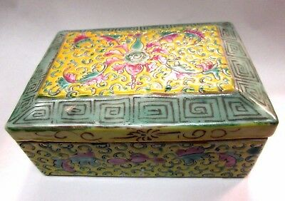 Antique Rose Famille Chinese Porcelain Table Box w Yellow Ground