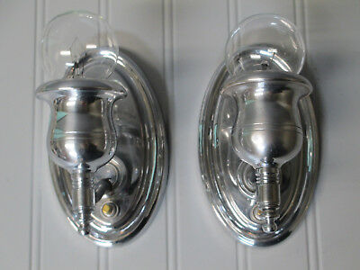"Vintage Antique Pair Art Deco Retro Chrome Wall Sconces Rewired 6"" Tall"