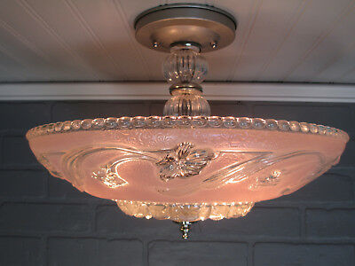 "Vintage Antique Art Deco Semi Flush Mount Ceiling Light Fixture Pink Floral 10""L"